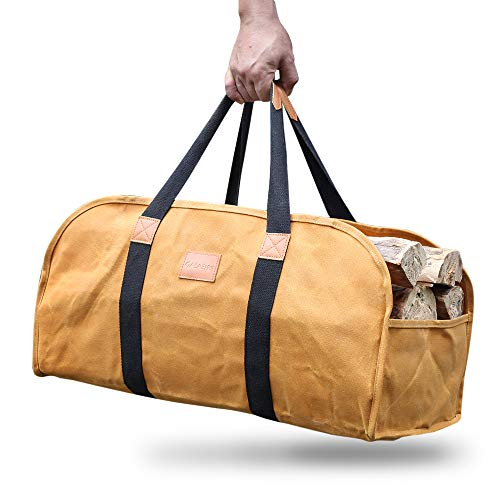 GALAFIRE Log Carrier for Firewood Waxed Canvas Durable Fireplace Wood Holder Tote Bag 23#039#039 × 10#039#039x 113#039#039