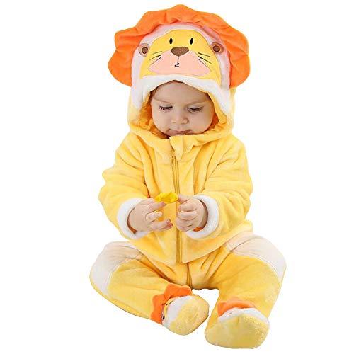 Unisex Pyjama Tier Strampler Kostüme Flanell Bekleidung Jumpsuit Schlafanzug Overall Baby Spielanzug (Lion,73cm)