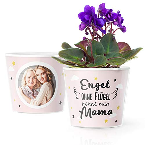 Facepot Geschenke für Mütter - Blumentopf (ø16cm) zum Geburtstag, Muttertagsgeschenk oder Weihnachten mit Bilderrahmen für Zwei Fotos (10x15cm) - Engel ohne Flügel nennt Man Mama