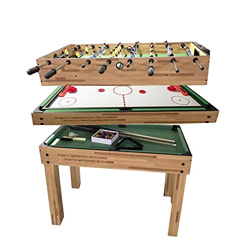 haxTON 1 Set of Popular Game Tables 3 in 1 Multi-Use Game Table Compact Combination Game Tables Mini Game Tables Foosball Table Air Hockey Table Pool Table Mini Table for Children Adult (3 in 1)