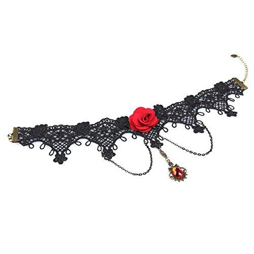 TREESTAR 1PCS Vintage Aristocratic Style Necklace Women Elegant Sexy Lady Jewelry Gemstone Pendant Art Rose Necklace