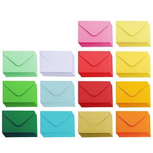 "Supla 140 Pcs Mini Envelopes 14 Colors Gift Card Envelopes 4.5"" x 3"" Pocket Envelope Business Card Envelopes Valentine's Day Assortment Little Envelopes Love Notes"