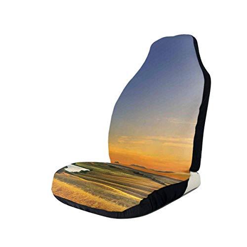 Cubiertas de los asientos delanteros del automóvil Protector del vehículo, foto mágica del Mediterráneo rural en el valle con un pequeño lago natural, apto para la mayoría de los automóviles, sedán, c