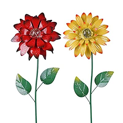 Amazon - 55% Off on  Floral Garden Stake Tricolor Outdoor Glow in Dark Plant Pick Water Proof Metal Flower