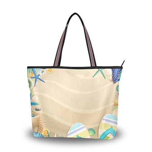 Ahomy Tote Schultertasche Strand Flip-Flops Muscheln Handtasche für Outdoor Gym Wandern Picknick Reisen Strand, Mehrfarbig - multi - Größe: L
