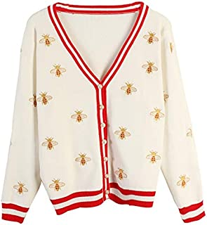 YXHM A Heavy Long-Sleeved Women Fall New Hit Stripes Bee Embroidery Loose Cardigan Thin Section (Color : White, Size : M)