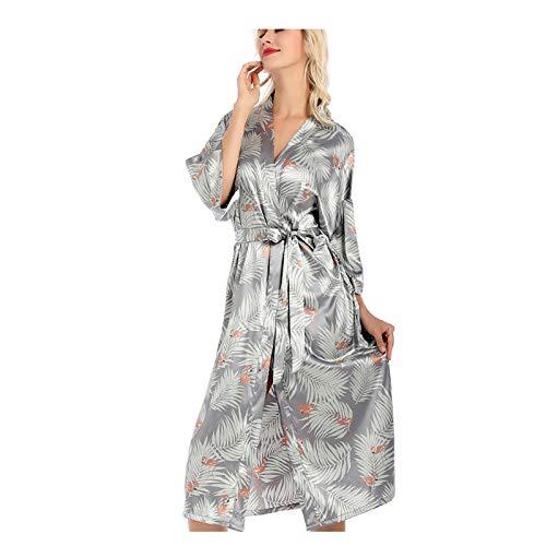 Las mujeres kimono batas bata, vestido de mujer camisón vestido de seda sintética batas cuello en V impresión suave bata de baño Pijamas 001-L