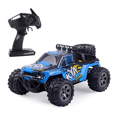 Highttoy Coche Teledirigido,Coche RC de Alta Velocidad de 2.4GHz 20km/h Coche de Control Remoto Escala 1:18 Vehículo RC Buggy Camión Teledirigido Coche de Juguete para Niños Azul