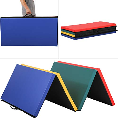 BestMassage Gymnastics Mat 4x8x2 Tumbling Mat Gym Mat Gymnastic Mat 4 Pannel Foldding Lightweight Tumbling Mat 2 Inches Thick Fitness Yoga Exercise Mat Home Gym Mat Equipment