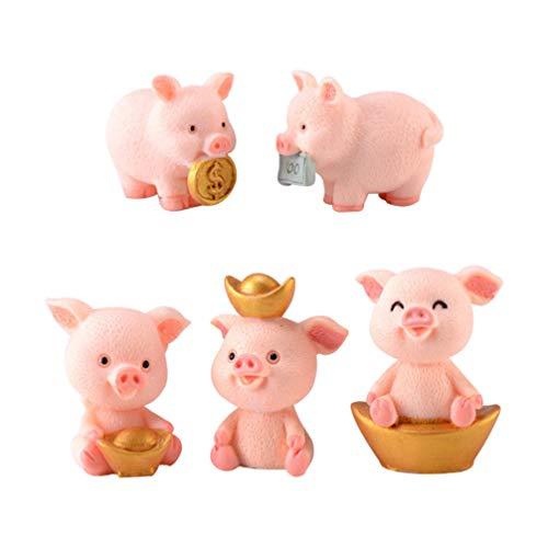 WINOMO 5PCS Miniatur Schwein Figur Glücksschweinchen Glücksbringer Tierfiguren Streudeko Kuchen Dekofigur Miniatur Landschaft Puppenhaus Feengarten Ornament Neujahr Hochzeit Tischdeko