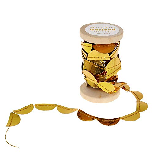 Meri Meri, Scallop, Garland Spool, 4.5 Meters, Gold