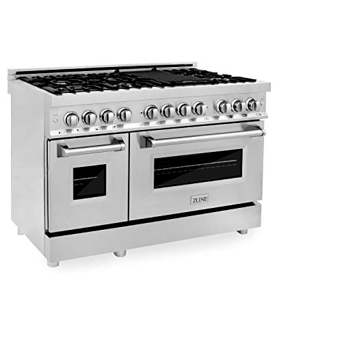 """ZLINE 48"""" 6.0 cu. ft. Dual Fuel Range with Gas Stove and Electric Oven with Color Options (RA48) (Stainless Steel)"""