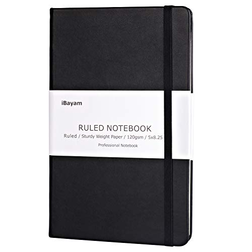 Classic Ruled Notebooks/Journals - Premium Thick Paper Faux Leather Writing Notebook, Black, Hard Cover, Large, Lined, 120gsm Thick Paper, Size: 5'X8.25'