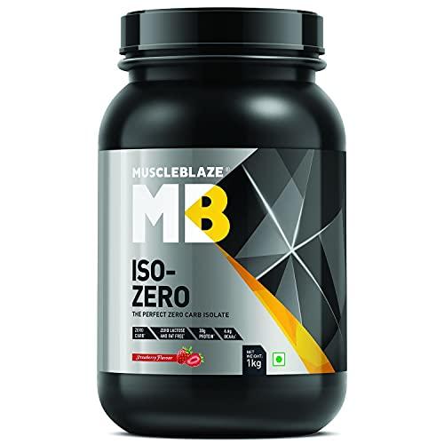 Muscleblaze Iso-zero Zero-carb 100% Whey Protein Isolate (Strawberry, 1 Kg / 2.2 lb)