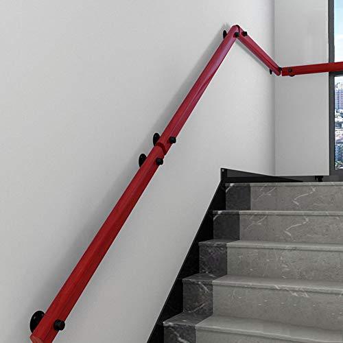 LTFS Barandillas de Escalera Haya Pared Interior, Seguridad Antideslizante barandas, con Soporte de Montaje Negro, Color de Madera roja, para Hospitales, escuelas, escaleras residenciales, etc
