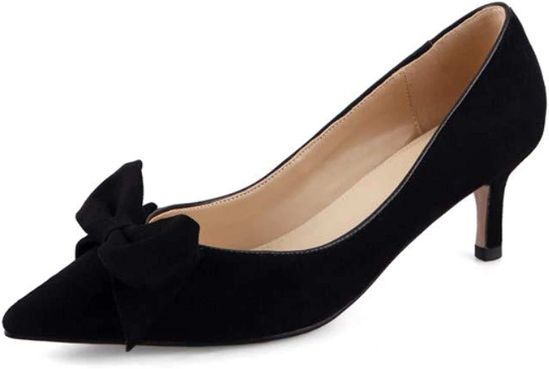 Nine Seven Women's Suede Leather Pointy Toe Mid Heel Handmade Elegant Bow Stilettos Slip On Pump shoes