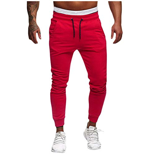 Vectry Pantalones Hombre Deportes Casual Culturismo Puro Bolsillo Cintura Flexible Pantalones Largos Pantalones Slim Fit Cargo Trouser De Hombres