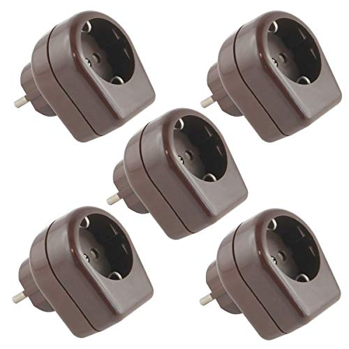 5X Schutzkontakt-Zwischenstecker mit Kabelabzweig für einen Schalter und Sicherung 2A, braun