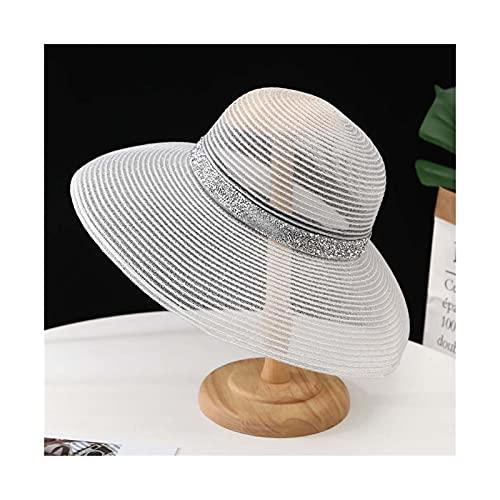 liushop Sombrero para el Sol Sombreros de la Playa de Verano para Sombrero de Paja de Ancho en Blanco y Negro Sombrero de Visera Sol Sombrero de Playa (Color : 3, Size : M)