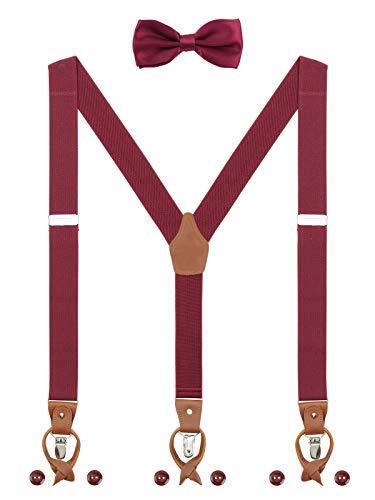 Herren Hosenträger Fliege Set 2 WAY TO WEAR 6 Leder Knopfloch 3 Clips Y-Form 3,5cm Breit Verlängerte Hosenträger für Körpergröße 160-200cm - Bordeaux Rot