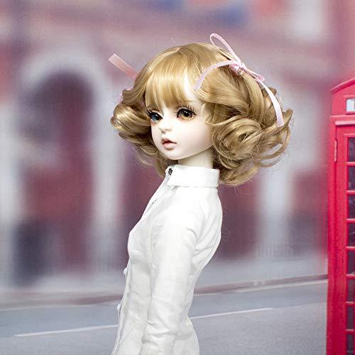 MUZI WIG SD/BJD Peluca de muñeca con pelo largo romano rizado de fibra de alta temperatura, pelucas de color tostado para muñecas 1/3 BJD