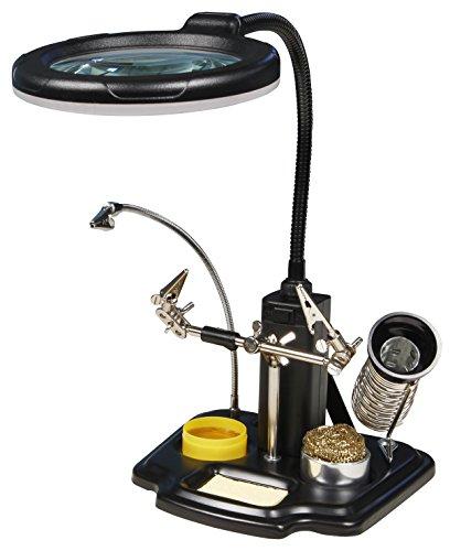 Dritte Hand mit LED-Lupe McPower, Lötkolben Halter, 3-fache Vergrößerung | Helfer für Elektrotechnik, löten und basteln | sicherer Halt für die Werkstücke | gute Sicht durch LED Beleuchtung