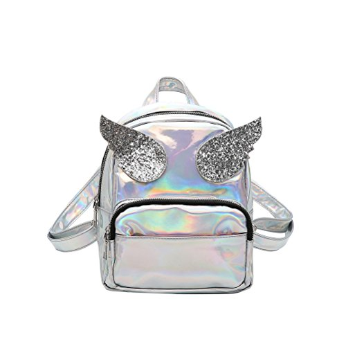 OULII Shiny Hologram Laser Zipper PU Leder Rucksack Geldbörse Schulranzen Casual Daypack für Frauen Mädchen (Silber)