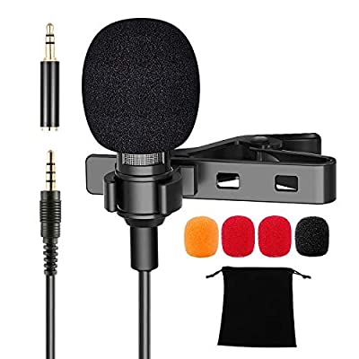 3.5mm Lavalier Microphone, Mini Omnidirectional...
