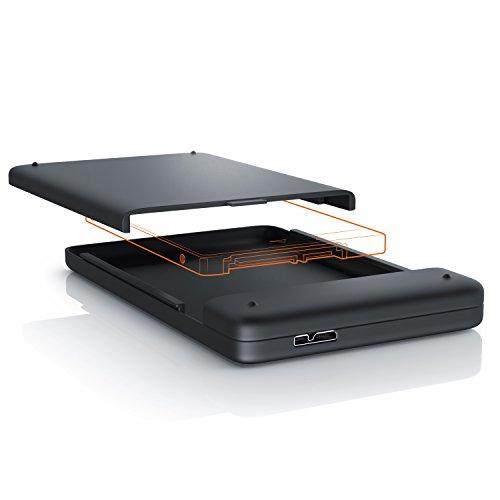 CSL - USB 3.0 externes Festplattengehäuse für 2,5 Zoll SATA SSD HDD Festplatten - für SATA I II III HDD SSD Case - UASP Mode - schraubenlose Installation - Kompatibel bei Windows Linux iOS