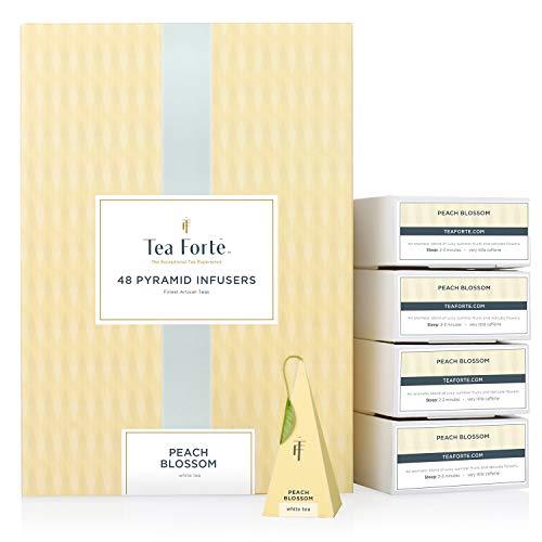 Tea Forté Peach Blossom | Caja 48 infusores de pirámide | Té blanco orgánico de melocotón