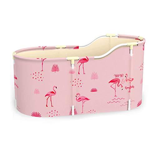 RyanBm Bañera Portátil para Adultos con Funda y Cojín De Agua,Bañera de SPA Plegable, Baño Familiar Piscina Independiente No Hinchable(120 × 60 × 55 Cm Pink