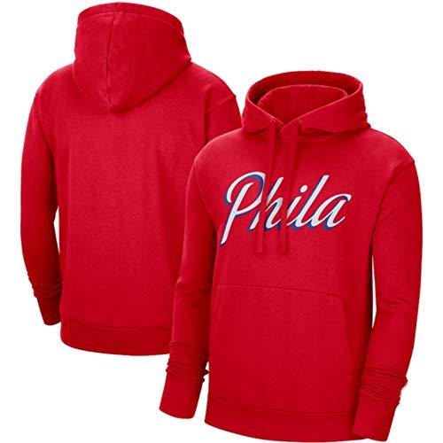 SHENXIAOMING 2021 Philadelphia 76ers Sweat Hood Sudadera con Capucha para Hombre, Camisetas de Baloncesto, Camisetas Casuales, Lavables a máquina, adecuadas para Deportes al Aire Libre,Rojo,XL
