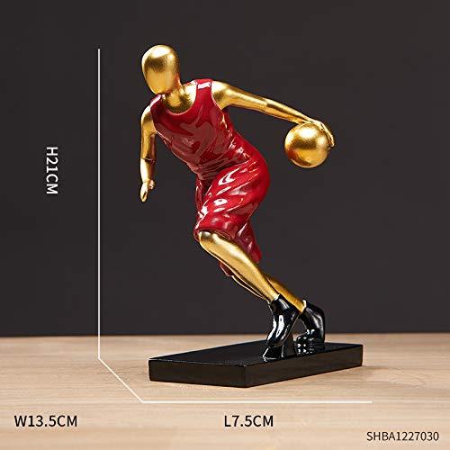 Modelo de jugador de baloncesto Decoración de escritorio Decoración del hogar Adornos para decoración del hogar, sala de estar, accesorios para el hogar, dijes de resina (color: rojo A)