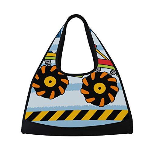 NISENASU Sporttasche,Monster Truck Vektor Illustration Kinder,Neue Sport Reisetaschen Tennisschläger Rucksack Badminton Kurze Reisetaschen tragbare Umhängetasche (20×6.7×18.5 inch)