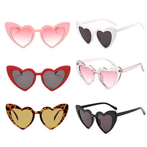 6 Packs Heart Shaped Retro Cateye Sunglasses for Women, Party Favors Supplies, Red Pink Beige White Black Transparent Eye Wears