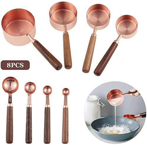 JKXWX 8 Tazas y cucharas medidoras, Juego de cucharas medidoras de Cocina con Regla de Marcado grabada para medir Todos los Ingredientes para Hornear JKXWX-12.31