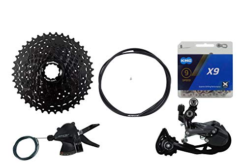 JGbike 9 Speed 1x9 groupset for Shimano M2010: Right Shift Lever,M2000 3010 Shadow Rear Derailleur, Sunrace 11-40T 11-42T Cassette M990, KMC X9 Chain