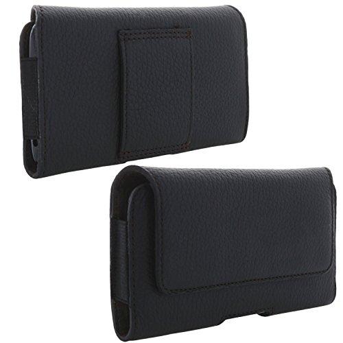 XiRRiX Echt Leder Handy Tasche 2.4 2XL Gürteltasche passend für Apple iPhone SE 2nd Generation 2020 / Emporia Smart 3 Mini/Samsung Galaxy A3 2017 S6 S7 S10e / Sony Xperia XZ2 Compact - schwarz
