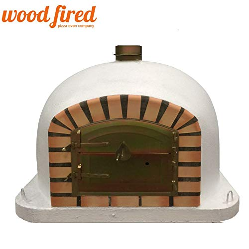 White Deluxe Wood Fired Pizza Oven, Orange Arch, Gold Door, 70cm x 70cm