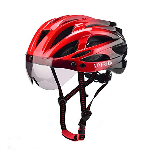 XinerTer Bike Helmet,Mountain Bike Helmets and Detachable Magnetic Goggles, Replacement Lining Removable,Adults Bike Helmets for Women and Men,Adjustable Size 22-24.2 in. (red and Black)