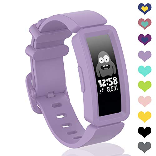 VEAQEE Compatible with Ace 2 Bands for Kids 6+, Soft Silicone Bracelet Accessories Sport Strap Boys Girls Wristbands Compatible for Fitbit Ace 2 & Inspire HR (Light Purple)