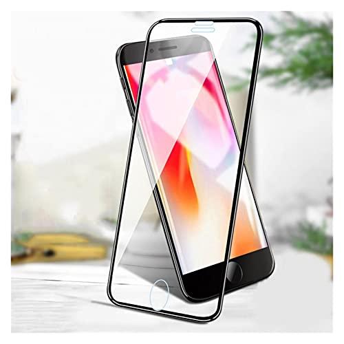 YJHL QIQIBH 5D - Protector de pantalla para I-Phone 7 Plus X 10 para I-Phone 12 Pro Max 11 XS XR 8 6 6S 12 Mini película de vidrio templado (color: para iPhone 7 Plus, material: negro)