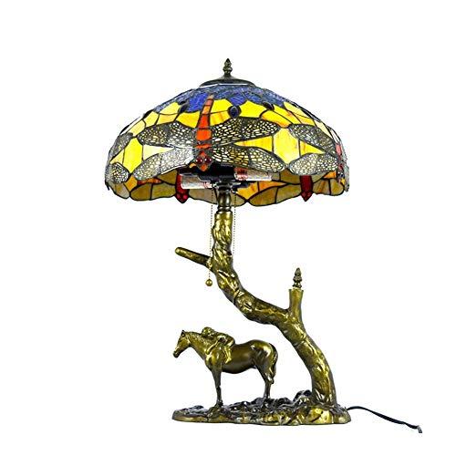 SCAYK Lámpara de Mesa de Estilo Patrón de Flores de 16 Pulgadas Art Bonita Mujer Base Vintage Pastoral Mediterráneo Vidrio Manchado Lámparas Lámparas para Dormitorios Lámpara de Noche