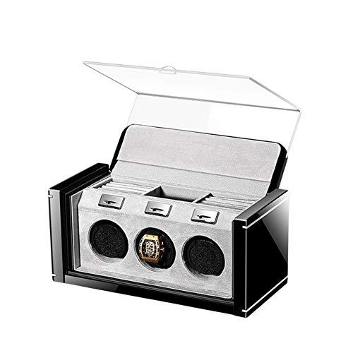 Caja de reloj Shaker Caja de reloj mecánica automática, Devanadera de almacenamiento de reloj Balanceo de plato giratorio, Control avanzado y motor silencioso, Superficie de pintura de piano, Fl suave