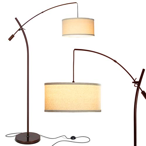 Brightech Grayson - Modern Arc Floor Lamp for Living Room - Contemporary, Tall LED Light Reaching from Behind The Couch to Hang Over It - Adjustable Arm - Industrial Style Lighting - Black