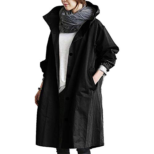 HUPAI Womens Waist Hooded Temperament Mid-Lengt Pocket Buttons Outdoor Jacket Windbreaker Coats Overcoat (XL, Black)