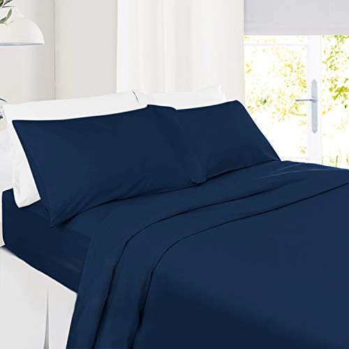 Twin Size Sheets – 3 Piece Twin Navy Blue Bed Sheet Set - Hotel Bed Sheets - Soft Microfiber Sheets - Easy Fit 8' to 14' Deep Pocket Fitted Sheets - 3 PC Sheets Twin Sheets - Navy Dark Blue