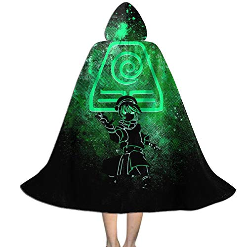 Avatar The Last Airbender Toph Art Earth Symbol Unisex Kids Hooded Cloak Cape Halloween Xmas Party Decoration Role Cosplay Costumes Black