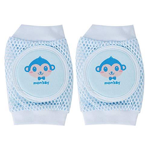 Rodilleras para gatear para bebés (2 pares), rodilleras unisex para gatear y caminar con seguridad rodilleras de malla suave y transpirable para bebés niños pequeños bebés(Azul)