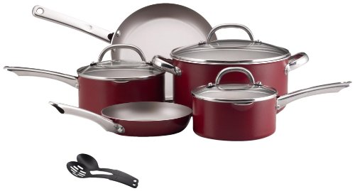 Farberware Premium Aluminum Nonstick 10-Piece Cookware Set with Stainless Handles, Red: Kitchen & Dining